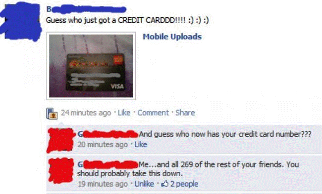 credit card facebook Nine Hilariously Awkward Facebook Interactions