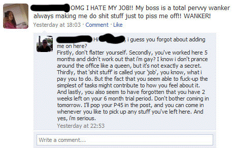 talking about your boss facebook Nine Hilariously Awkward Facebook Interactions