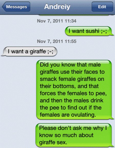 wtf iphone text giraffe facts The Eight Most WTF iPhone Texts