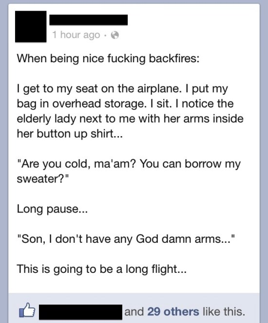 funniest facebook posts 2012 airplane awkwardness The Funniest Facebook Posts Of 2012