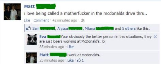 funniest facebook posts 2012 work mcdonalds The Funniest Facebook Posts Of 2012